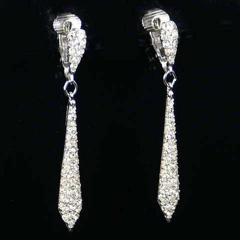 Trifari 'Alfred Philippe' Pave Necktie Pendant Pierced Earrings