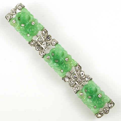 KTF Trifari 'Alfred Philippe' Pave and Three Jade Elements 1930s Ming Series Bar Pin