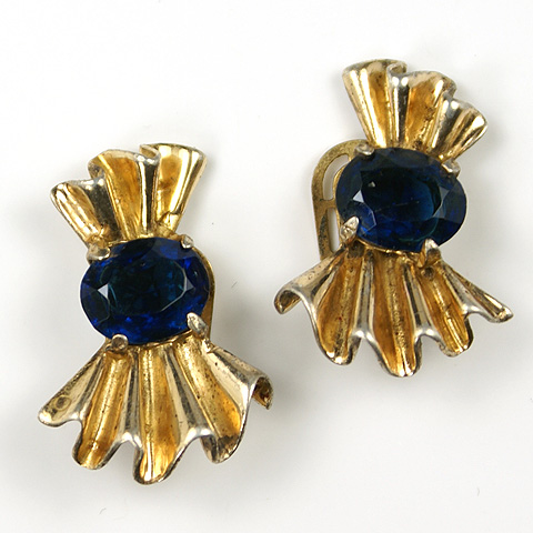 Trifari Sterling 'Alfred Philippe' Bow Swirl and Sapphire Clip Earrings