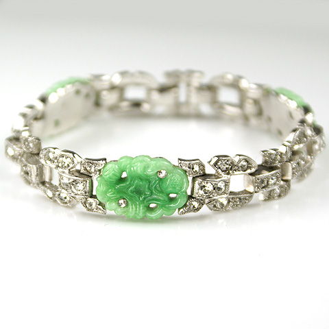 KTF Trifari 'Alfred Philippe' Pave and Jade 1935 'Ming' Series Link Bracelet
