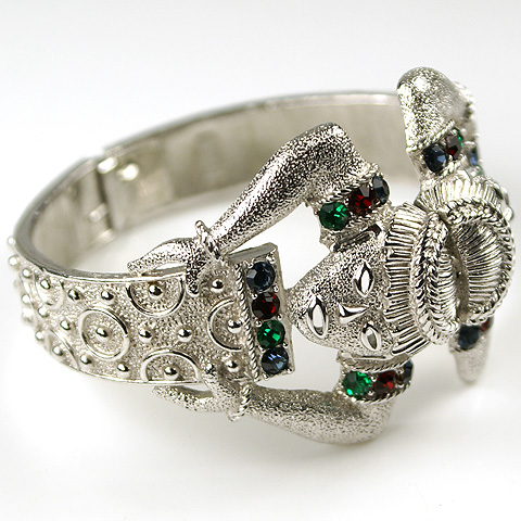 Trifari Africana Style Silver Rubies Emeralds and Sapphires Double Tribal Heads Bangle Bracelet