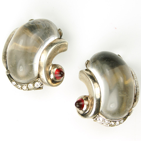 Trifari Sterling 'Alfred Philippe' Pave and Jelly Belly Swirls Clip Earrings