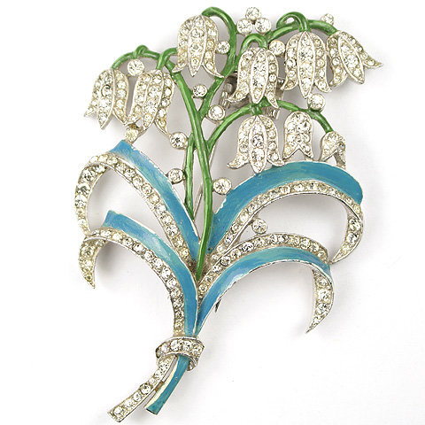 Trifari 'Alfred Philippe' Pave and Turquoise Enamel Lily of the Valley Pin Clip