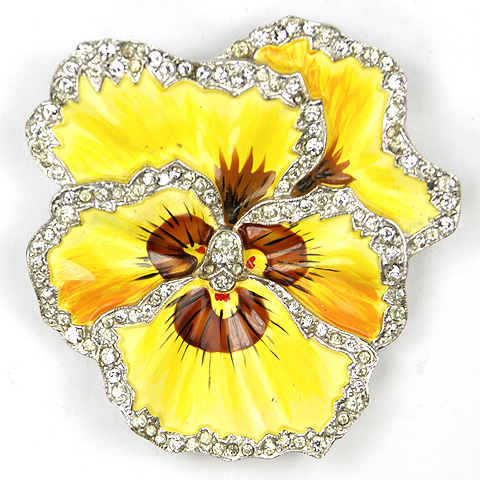 Trifari 'Alfred Philippe' Deco Pave and Enamel Yellow Pansy Pin Clip