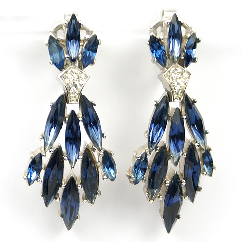 Trifari 'Alfred Philippe' Pendant Marquise Cut Sapphires Clip Earrings