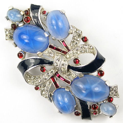Trifari 'Alfred Philippe' Red White and Blue Star Sapphire, Invisibly Set Rubies and Enamel Bow Pin
