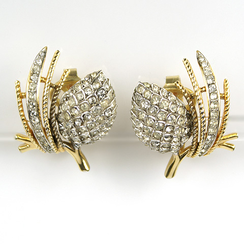 Trifari 'Alfred Philippe' 'Egrets' Gold and Silver Pinecones on Fir Branches Clip Earrings