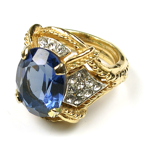 Trifari Gold Pave and Sapphire Adjustable Finger Ring