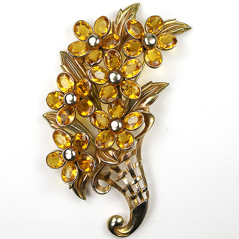 Trifari 'Alfred Philippe' Poured Glass Citrine Flowers and Golden Basketweave Cornucopia Giant Floral Spray Pin