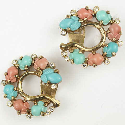Trifari 'Alfred Philippe' Pave and Coral Turquoise and Jade Fruit Salads Horsehoe Clip Earrings