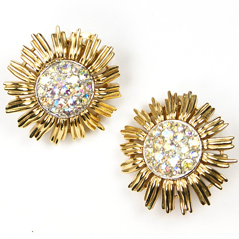 Trifari Gold and Pave Aurora Sunburst Button Clip Earrings