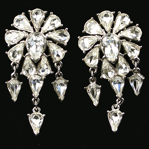 Trifari TM Triple Pendant Diamante Clip Earrings
