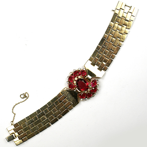 Trifari 'Alfred Philippe' Ruby Tesselated Bracelet