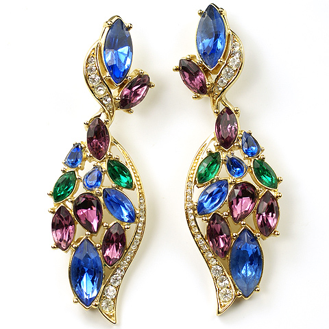 Trifari 'Alfred Philippe' Amethyst Sapphire and Emerald Swirl Pendant Pierced Earrings