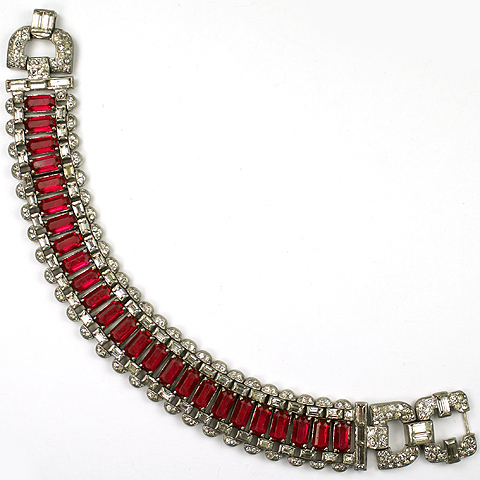 KTF Trifari 'Alfred Philippe' Pave and Ruby Deco Bracelet