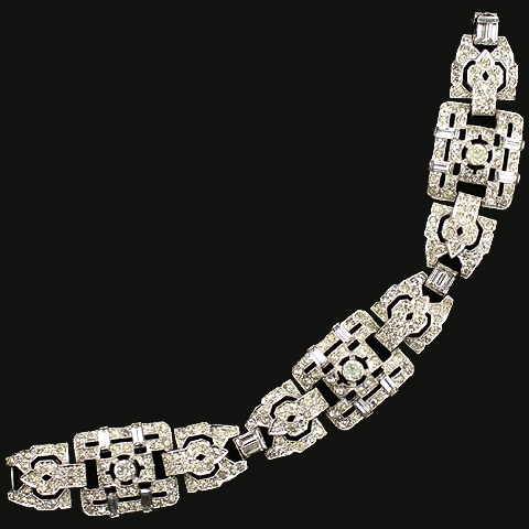 KTF Trifari 'Alfred Philippe' Pave and Baguettes Deco Square Linked Bosses Bracelet