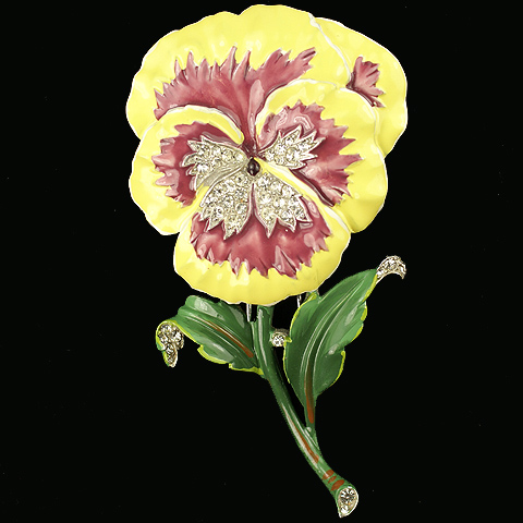 Trifari 'Alfred Philippe' 'Rue de la Paix' Purple and Yellow Pansy Pin Clip