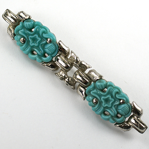 KTF Trifari 'Alfred Philippe' 1930s Moghul Jewels Spangled Carved Turquoise Bar Pin