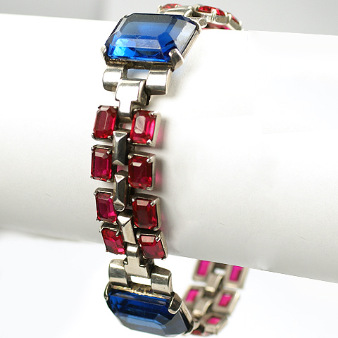 Trifari Sterling 'Alfred Philippe' US Patriotic WW2 Red White and Silver Ruby and Sapphire Bracelet
