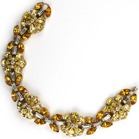 Trifari 'Alfred Philippe' Citrine and Topaz Flowers and Leaves Bracelet