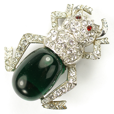 KTF Trifari 'Alfred Philippe' Pave and Emerald Cabochon Bug Pin