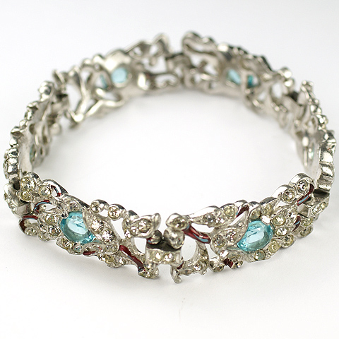 Trifari 'Alfred Philippe' Pave Aquamarine and Red Metallic Enamel Branches Floral Bracelet