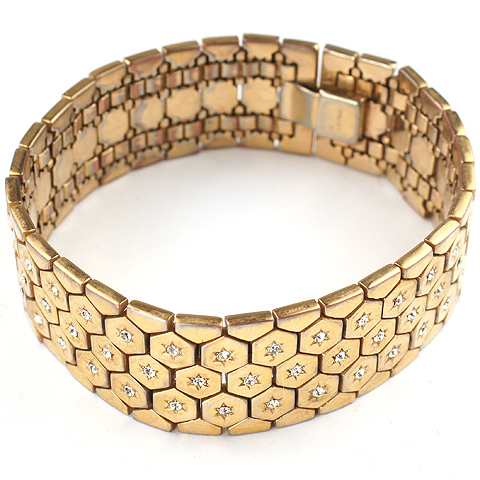 Trifari 'Alfred Philippe' Golden Honeycomb with Spangles Narrower Tesselated Bracelet