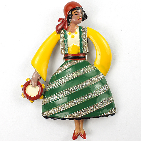 Trifari 'Alfred Philippe' Gypsy Lady Dancer with Tambourine Pin Clip