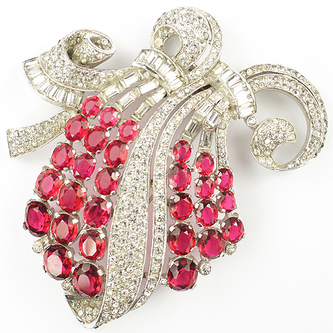 Trifari 'Alfred Philippe' Deco Ruby Cascade of Grapes on Swirled Branch Pin Clip
