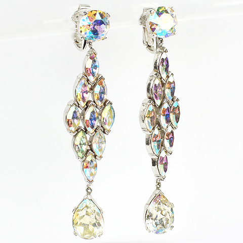 Trifari Aurora Borealis Diamonds and Teardrops Triple Element Pendant Clip Earrings