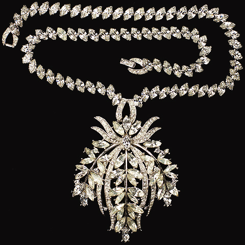 Trifari 'Alfred Philippe' Diamante Pave and Navettes Leaves and Fruit Pendant Necklace