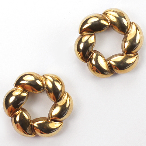 Trifari 'Alfred Philippe' Yellow Gold Hexagonal Wreath Button Clip Earrings
