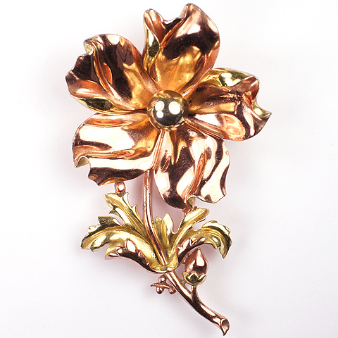 Trifari 'Alfred Philippe' Large Two Colour Gold Flower Pin Clip