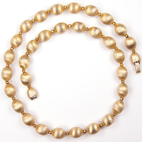 Trifari 'Locarno' Brushed Gold Beads Choker Necklace