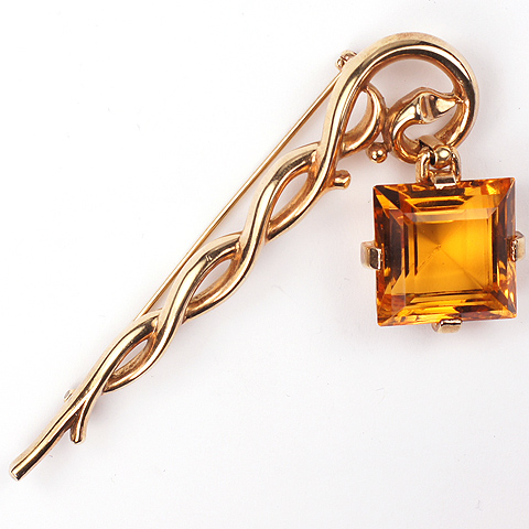 Trifari 'Alfred Philippe' Square Cut Citrine Pendant from Branch Pin