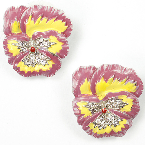 Trifari 'Alfred Philippe' Pale Violet and Yellow Pansy Clip Earrings