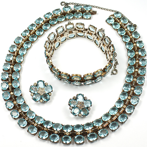Trifari Sterling 'Alfred Philippe' Aquamarine Necklace, Bracelet and Clip Earrings Set