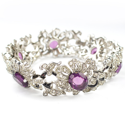 Trifari 'Alfred Philippe' Pave and Amethysts Floral Link Bracelet