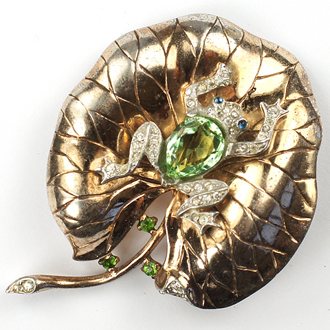 Trifari Sterling 'Alfred Philippe' Peridot Belly Frog on a Golden Lily Pad Pin Clip