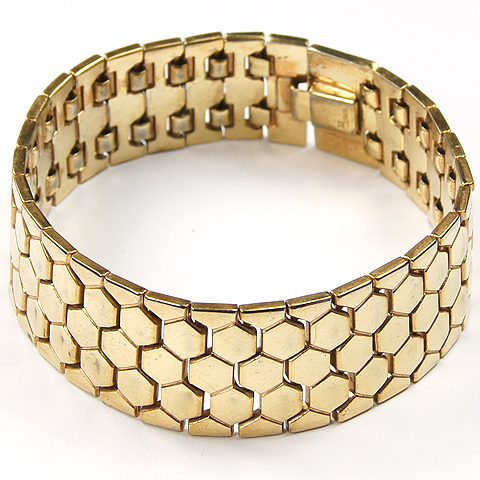 Trifari 'Alfred Philippe' Golden Honeycomb Tesselated Bracelet