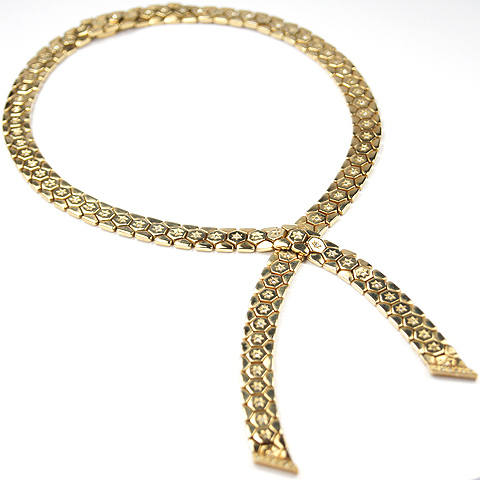 Trifari 'Alfred Philippe' Spangled Golden Honeycomb Tesselated Cravat Necklace