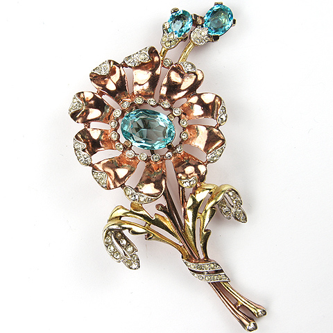 Trifari 'Alfred Philippe' Yellow and Rose Gold Aquamarine Daisy with Shoots Pin