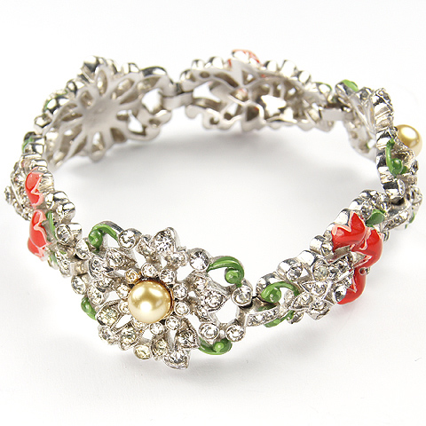 Trifari 'Alfred Philippe' Pave Bellflower, Pearl Rose, and Red and Green Enamel Flower Link Bracelet