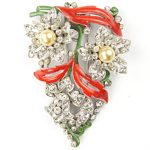 Trifari 'Alfred Philippe' Pave Bellflower, Pearl Rose, and Red and Green Enamel Flower Trembler Pin Clip