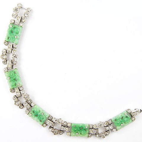 KTF Trifari 'Alfred Philippe' Pave Baguettes and Jade Oblongs 1935 'Ming' Series Bracelet