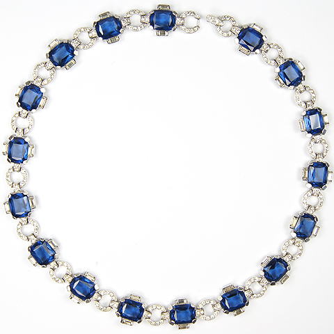 Trifari 'Alfred Philippe' Pave Circles and Sapphires Necklace