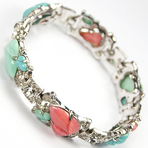 KTF Trifari 'Alfred Philippe' Turquoise and Coral Fruit Salads Bracelet