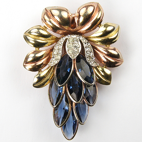 Trifari 'Alfred Philippe' Yellow and Rose Gold Gold and Sapphires Lotus Flower Pin Clip