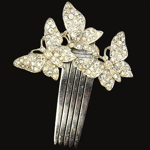 KTF Trifari 'Alfred Philippe' Three Pave Butterflies Hair Slide