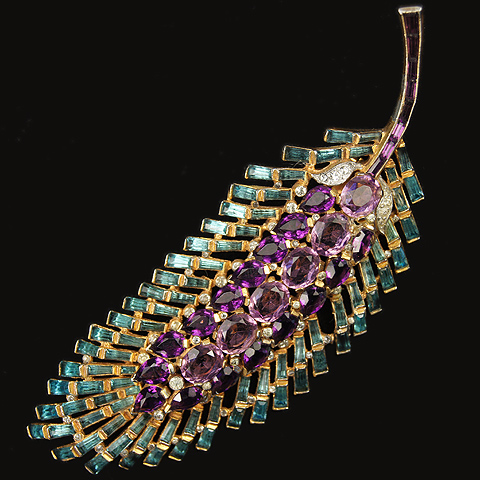 Trifari 'Alfred Philippe' Aquamarine and Amethyst Giant Leaf Pin Clip